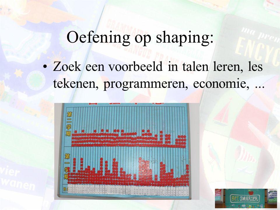 Oefening op shaping: Zoek een voorbeeld in talen leren, les tekenen, programmeren, economie,...