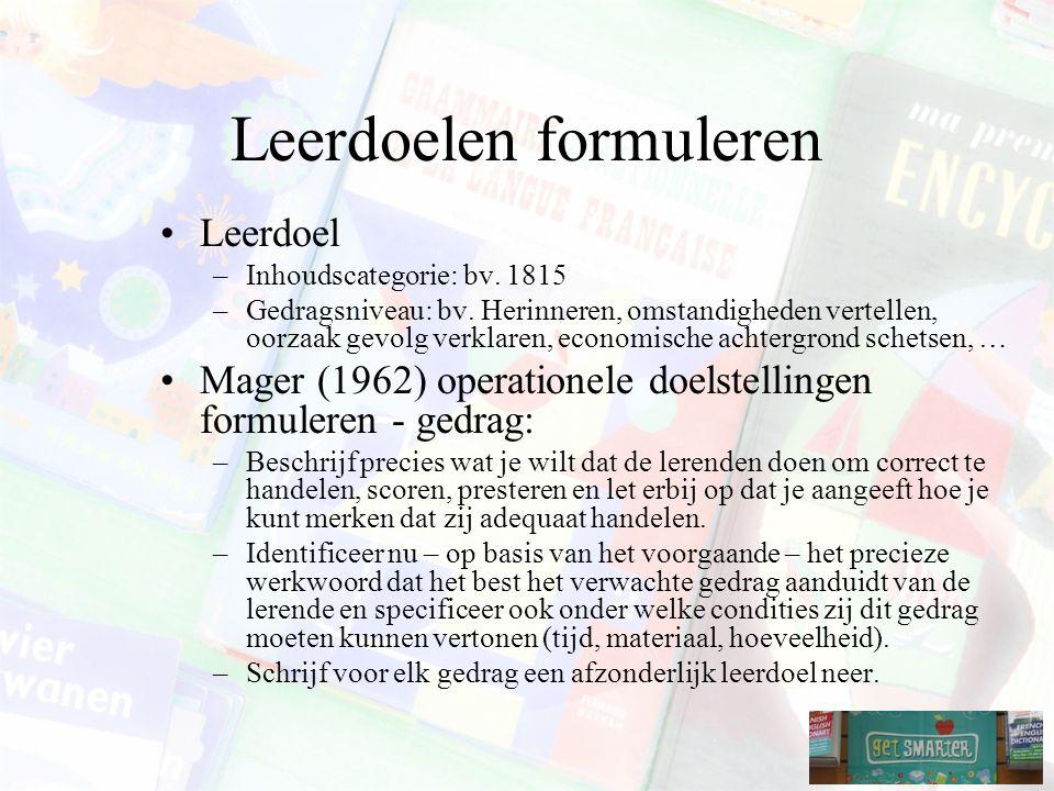 Leerdoelen formuleren Leerdoel –Inhoudscategorie: bv.