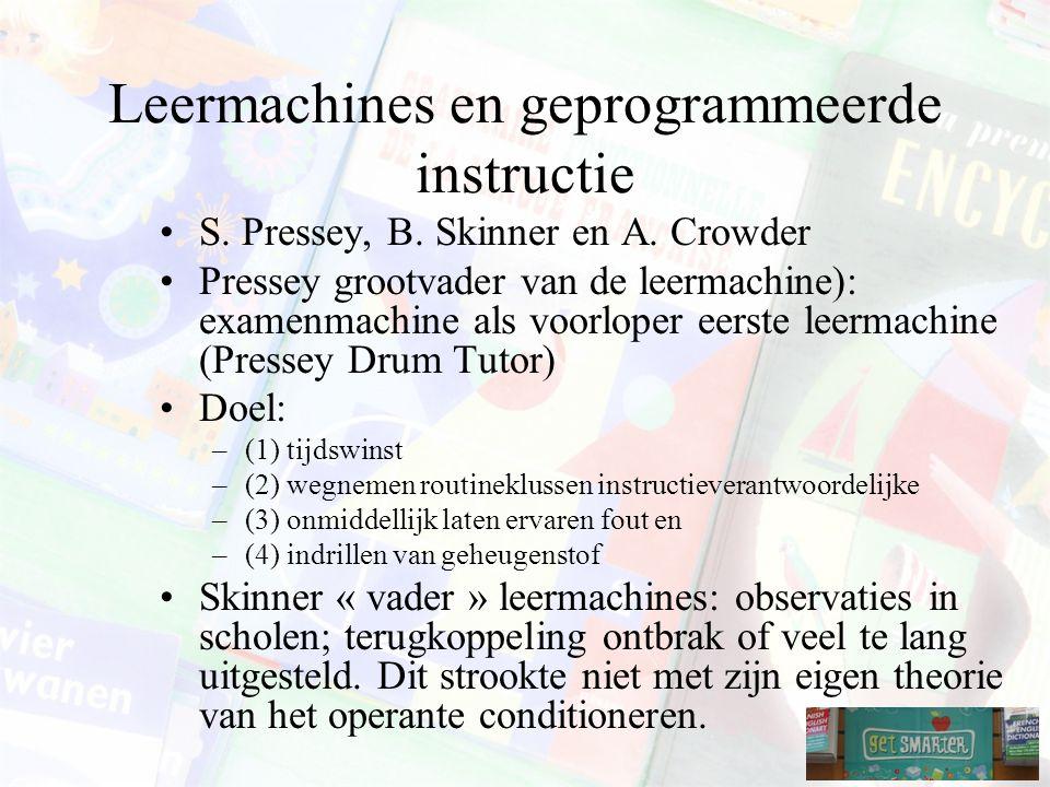 Leermachines en geprogrammeerde instructie S.Pressey, B.