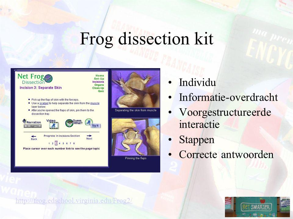 Frog dissection kit Individu Informatie-overdracht Voorgestructureerde interactie Stappen Correcte antwoorden http://frog.edschool.virginia.edu/Frog2/