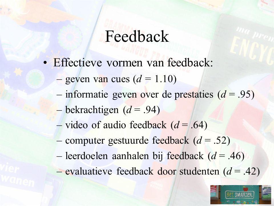 Feedback Effectieve vormen van feedback: –geven van cues (d = 1.10) –informatie geven over de prestaties (d =.95) –bekrachtigen (d =.94) –video of audio feedback (d =.64) –computer gestuurde feedback (d =.52) –leerdoelen aanhalen bij feedback (d =.46) –evaluatieve feedback door studenten (d =.42)