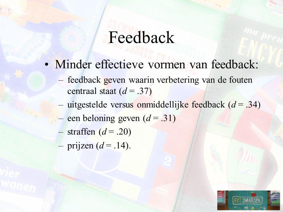 Feedback Minder effectieve vormen van feedback: –feedback geven waarin verbetering van de fouten centraal staat (d =.37) –uitgestelde versus onmiddellijke feedback (d =.34) –een beloning geven (d =.31) –straffen (d =.20) –prijzen (d =.14).