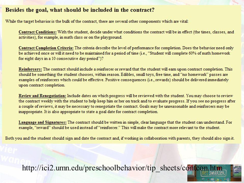 http://ici2.umn.edu/preschoolbehavior/tip_sheets/contcon.htm