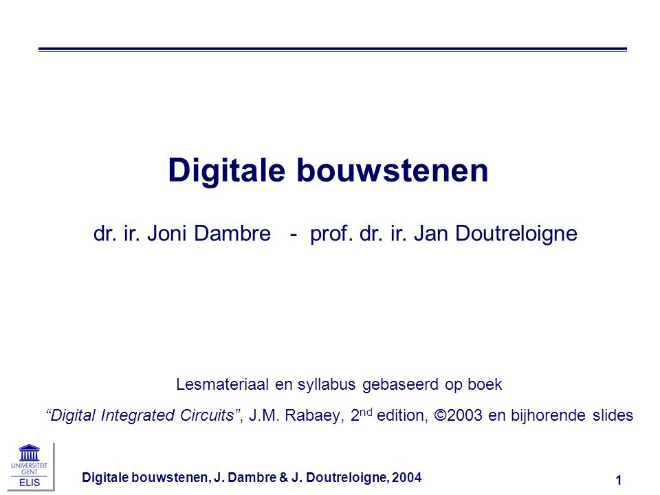 Digitale bouwstenen, J.Dambre & J.