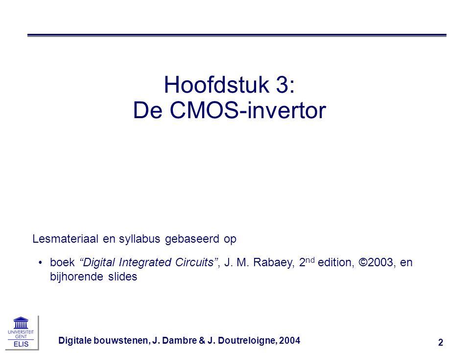 Digitale bouwstenen, J.Dambre & J. Doutreloigne, 2004 33 Sub-threshold I d i.f.v.