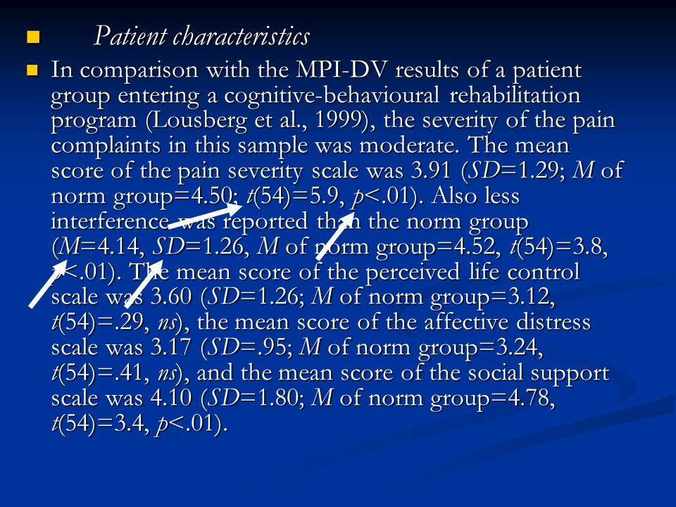 Patient characteristics Patient characteristics In comparison with the MPI-DV results of a patient group entering a cognitive-behavioural rehabilitati