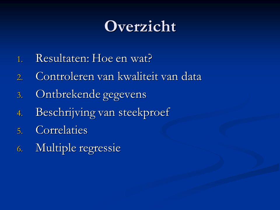 Overzicht 1.Resultaten: Hoe en wat. 2. Controleren van kwaliteit van data 3.