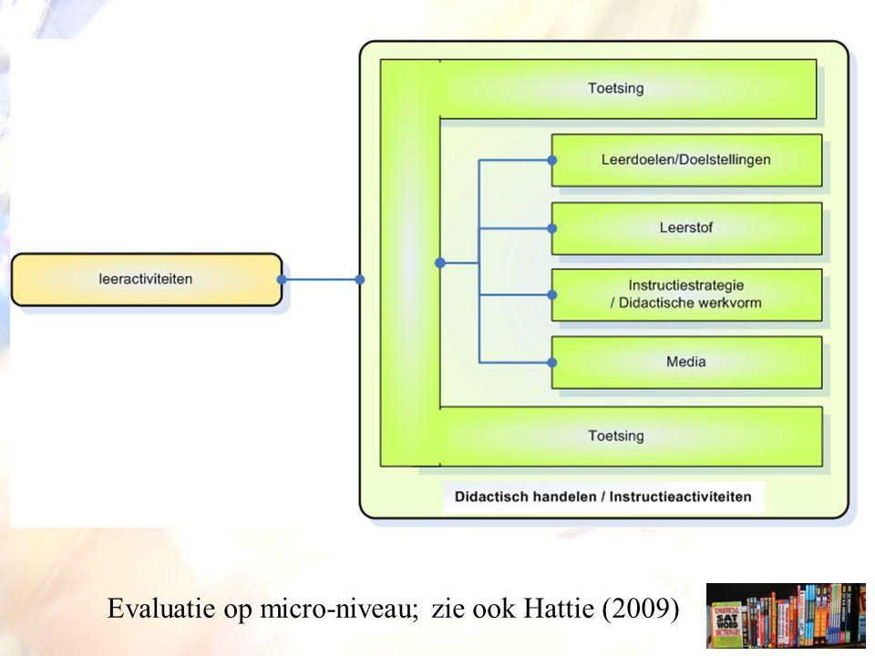 Evaluatie op micro-niveau; zie ook Hattie (2009)