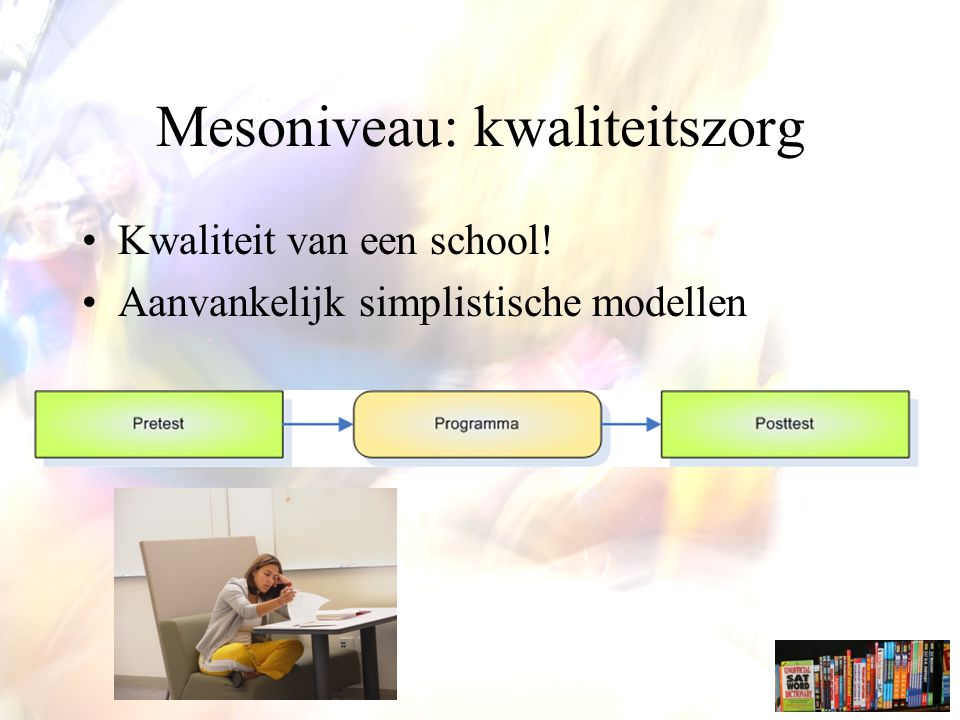 Mesoniveau: kwaliteitszorg Kwaliteit van een school! Aanvankelijk simplistische modellen
