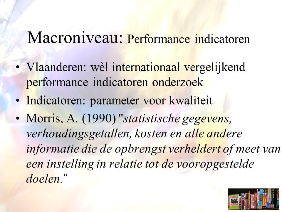 Macroniveau: Performance indicatoren Vlaanderen: wèl internationaal vergelijkend performance indicatoren onderzoek Indicatoren: parameter voor kwaliteit Morris, A.