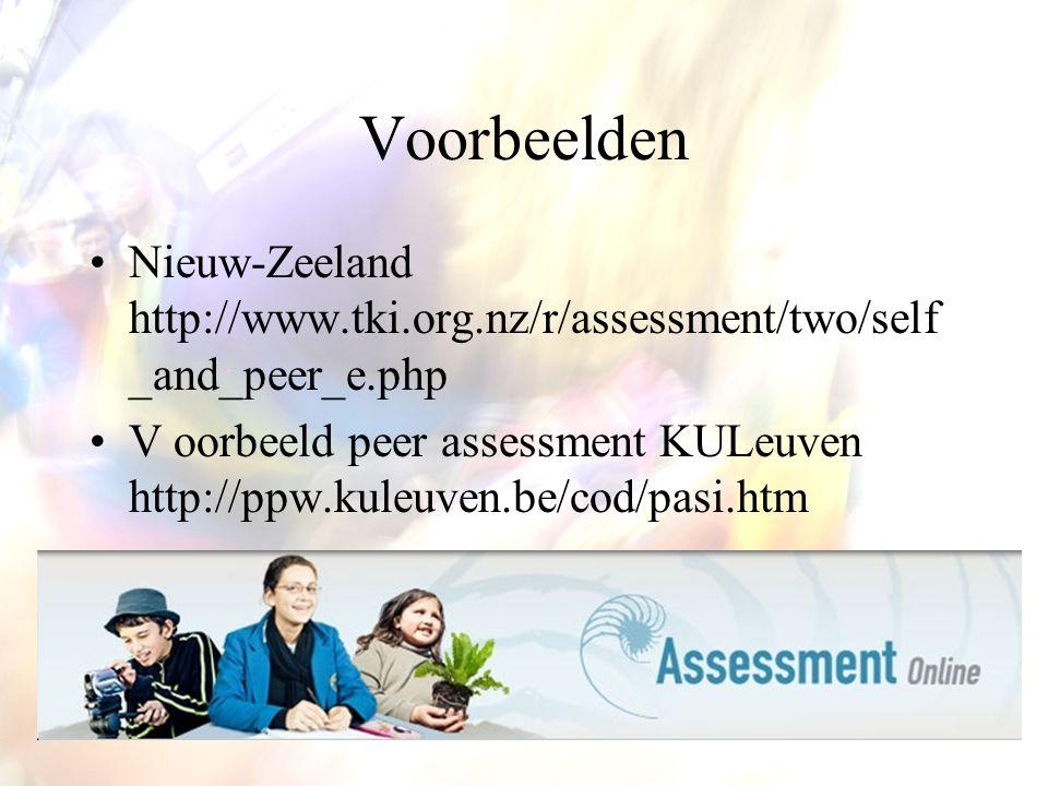Voorbeelden Nieuw-Zeeland http://www.tki.org.nz/r/assessment/two/self _and_peer_e.php V oorbeeld peer assessment KULeuven http://ppw.kuleuven.be/cod/pasi.htm