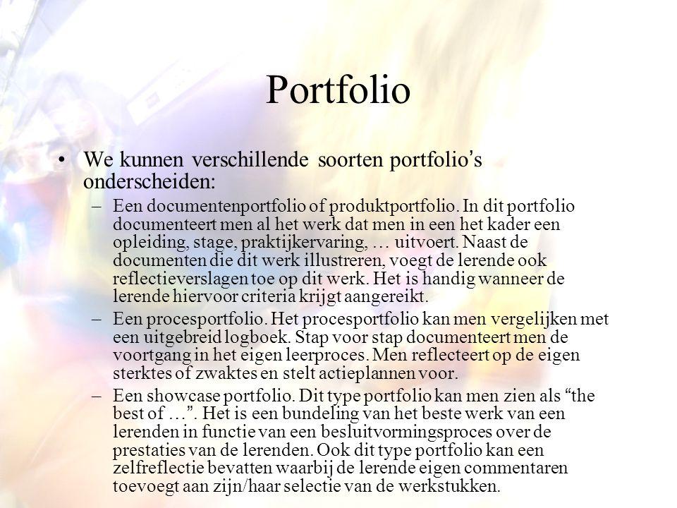 Portfolio We kunnen verschillende soorten portfolio's onderscheiden: –Een documentenportfolio of produktportfolio.