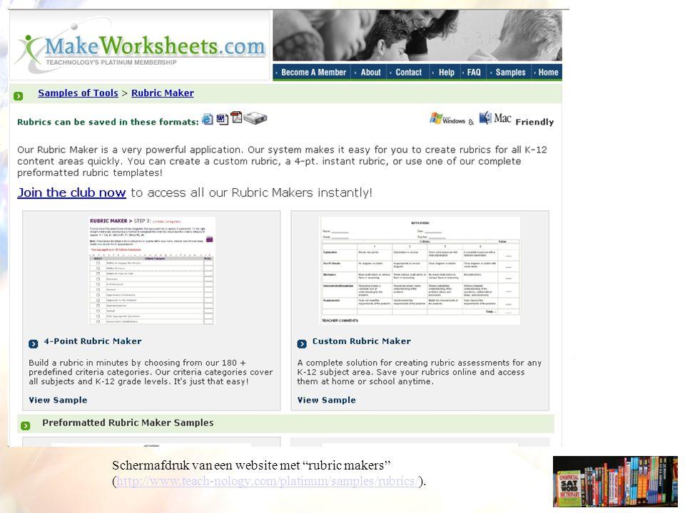 Schermafdruk van een website met rubric makers (http://www.teach-nology.com/platinum/samples/rubrics/).http://www.teach-nology.com/platinum/samples/rubrics/