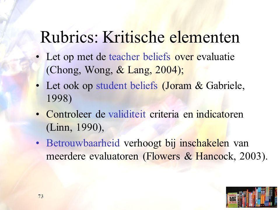 Rubrics: Kritische elementen Let op met de teacher beliefs over evaluatie (Chong, Wong, & Lang, 2004); Let ook op student beliefs (Joram & Gabriele, 1998) Controleer de validiteit criteria en indicatoren (Linn, 1990), Betrouwbaarheid verhoogt bij inschakelen van meerdere evaluatoren (Flowers & Hancock, 2003).