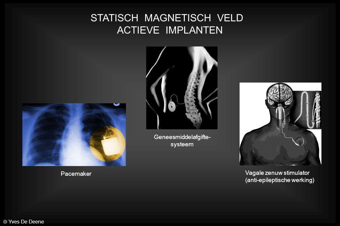 STATISCH MAGNETISCH VELD ACTIEVE IMPLANTEN Vagale zenuw stimulator (anti-epileptische werking) Geneesmiddelafgifte- systeem Pacemaker  Yves De Deene