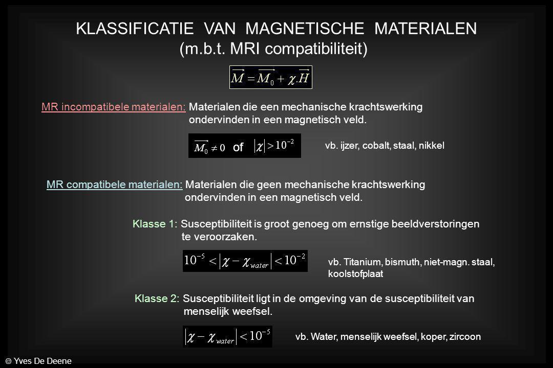 KLASSIFICATIE VAN MAGNETISCHE MATERIALEN (m.b.t. MRI compatibiliteit) MR incompatibele materialen: Materialen die een mechanische krachtswerking onder