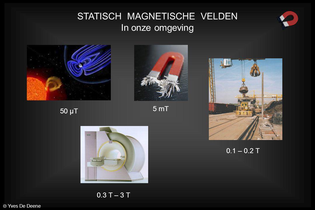 5 mT 50 µT 0.3 T – 3 T 0.1 – 0.2 T STATISCH MAGNETISCHE VELDEN In onze omgeving  Yves De Deene