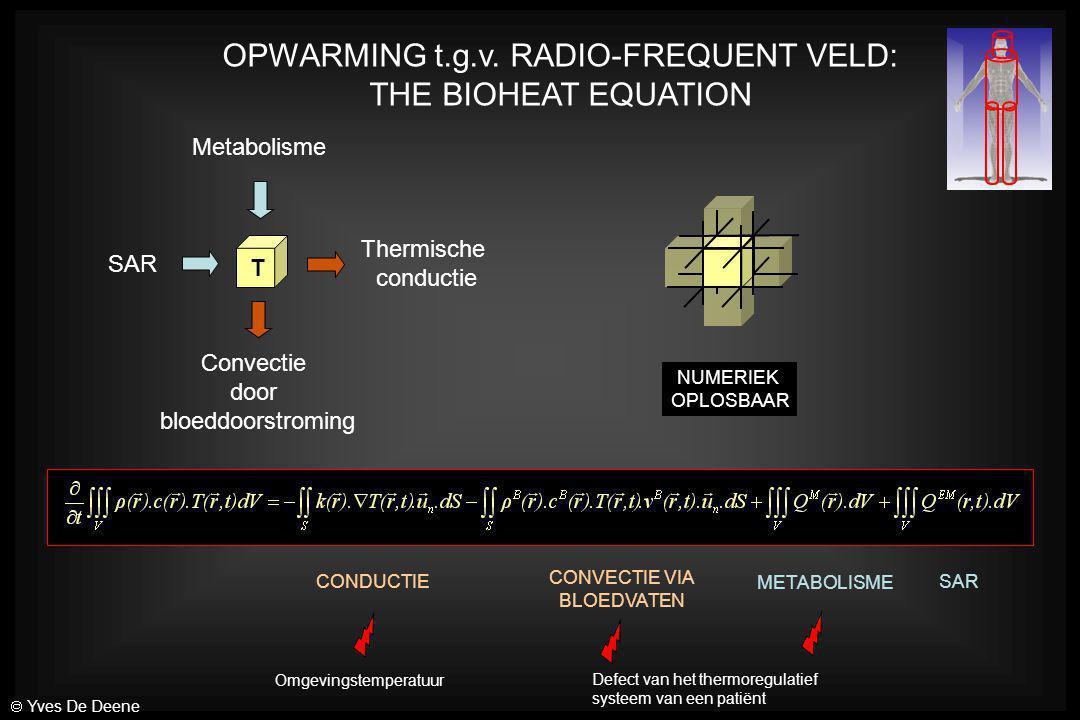 OPWARMING t.g.v. RADIO-FREQUENT VELD: THE BIOHEAT EQUATION SAR Thermische conductie Convectie door bloeddoorstroming Metabolisme T CONDUCTIE CONVECTIE