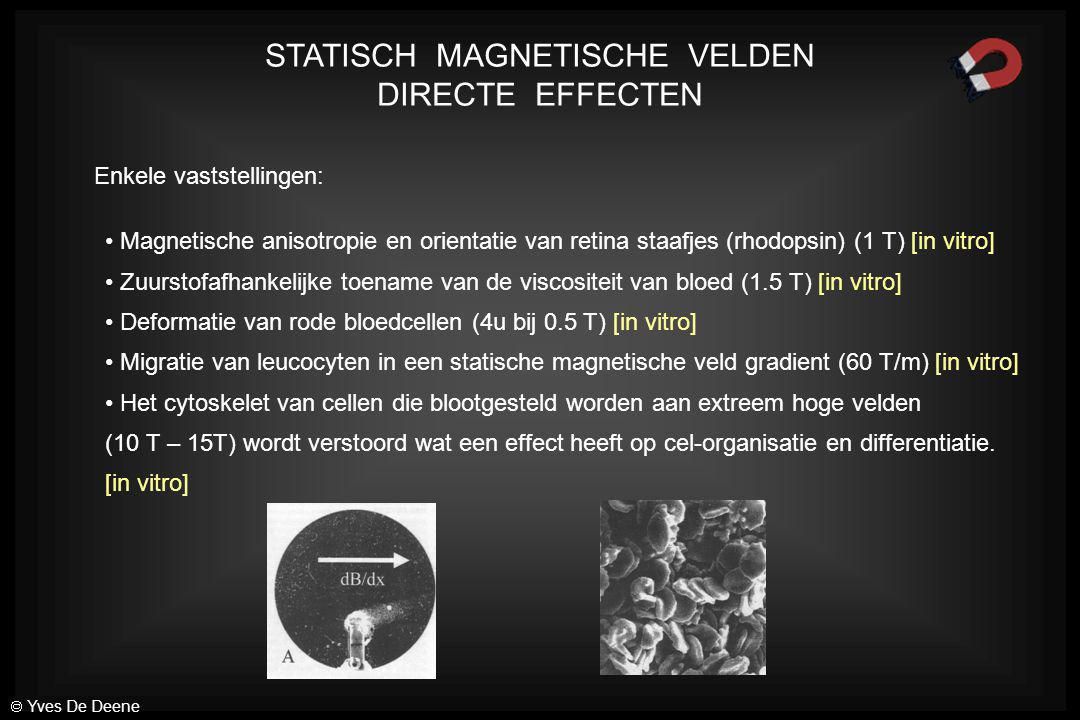 VERANDERENDE MAGNETISCHE VELDEN: Schakelen van magnetische gradiënten > 30 µT 10 -1 10 0 10 1 10 2 10 3 10 4 10 5 10 6 11010 2 10 4 10 5 10 6 10 3 10 7 10 8 10 910 10 11 10 12 B (µT) f (Hz) 33 mT/m 820 Hz65 kHz 30 µT Actiewaarden Bijstand van patient  Yves De Deene