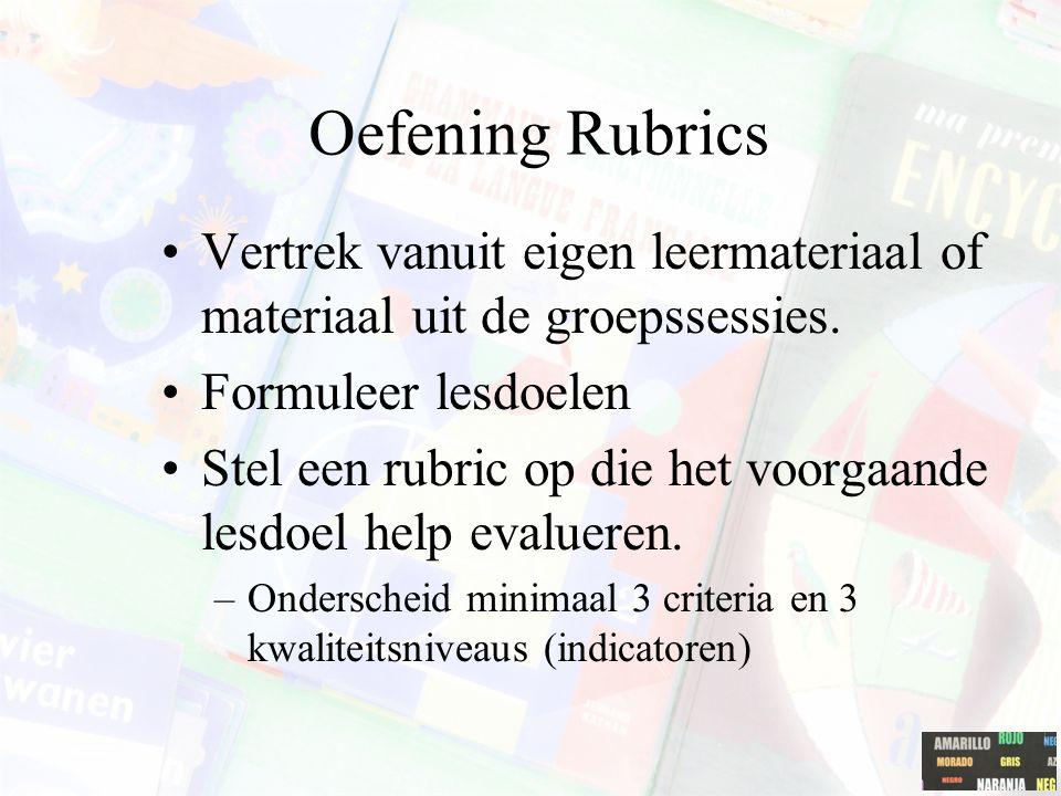 Oefening Rubrics Vertrek vanuit eigen leermateriaal of materiaal uit de groepssessies. Formuleer lesdoelen Stel een rubric op die het voorgaande lesdo