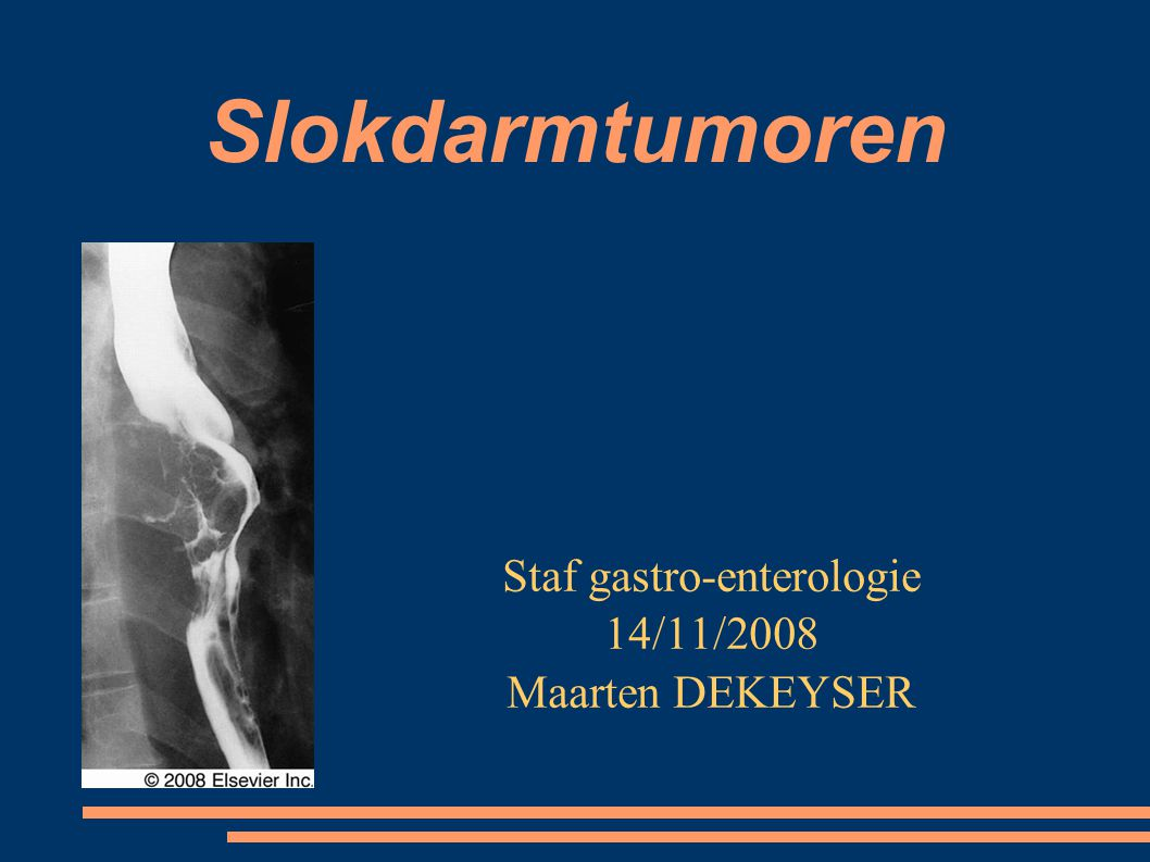 Slokdarmtumoren Staf gastro-enterologie 14/11/2008 Maarten DEKEYSER