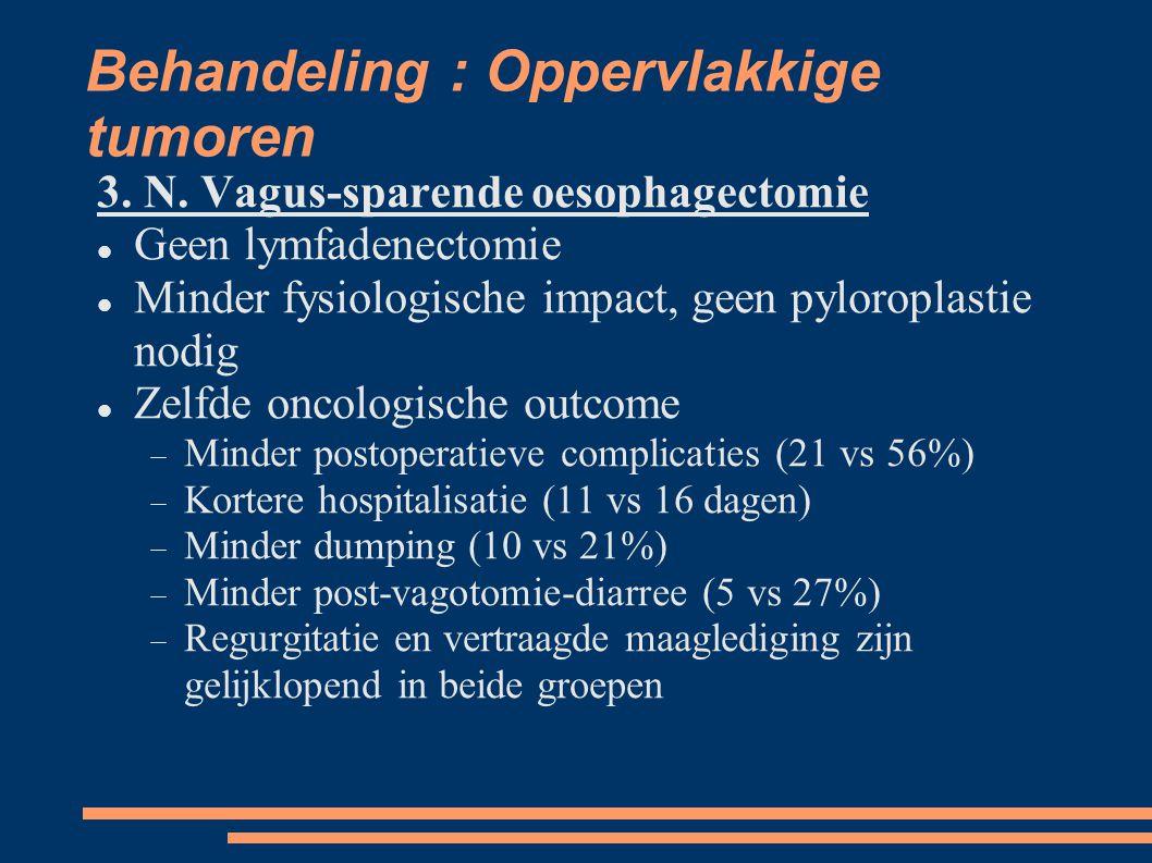 Behandeling : Oppervlakkige tumoren 3. N. Vagus-sparende oesophagectomie Geen lymfadenectomie Minder fysiologische impact, geen pyloroplastie nodig Ze