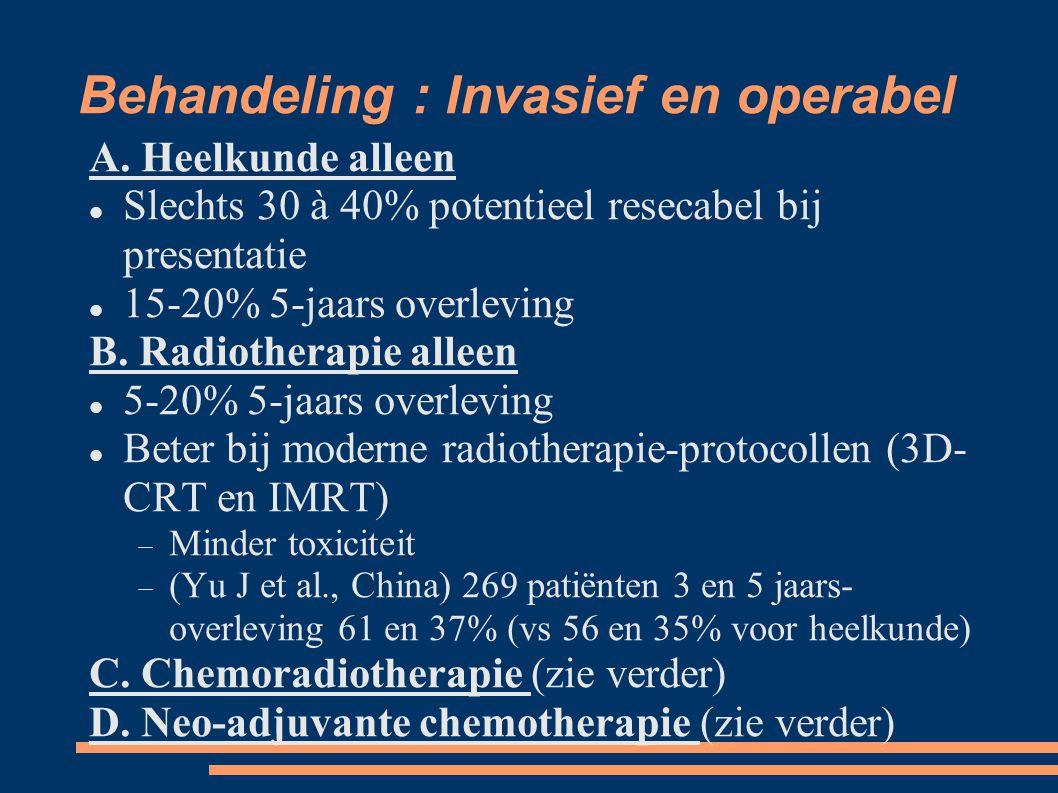 Behandeling : Invasief en operabel A. Heelkunde alleen Slechts 30 à 40% potentieel resecabel bij presentatie 15-20% 5-jaars overleving B. Radiotherapi
