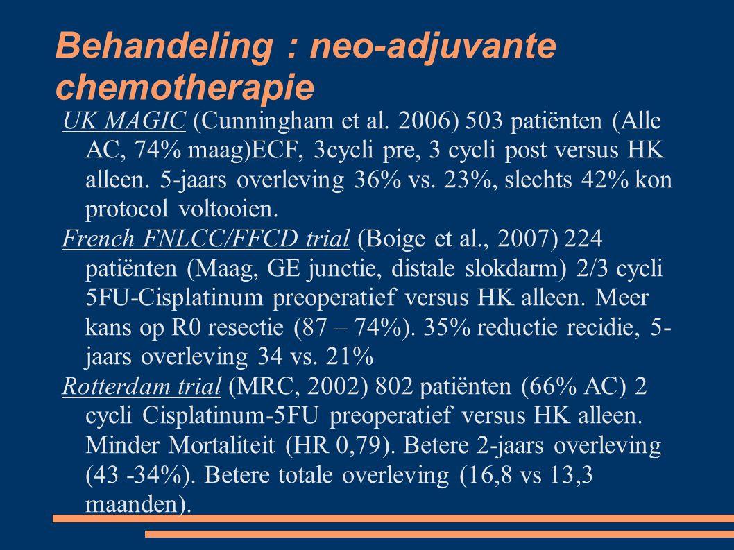 Behandeling : neo-adjuvante chemotherapie UK MAGIC (Cunningham et al. 2006) 503 patiënten (Alle AC, 74% maag)ECF, 3cycli pre, 3 cycli post versus HK a