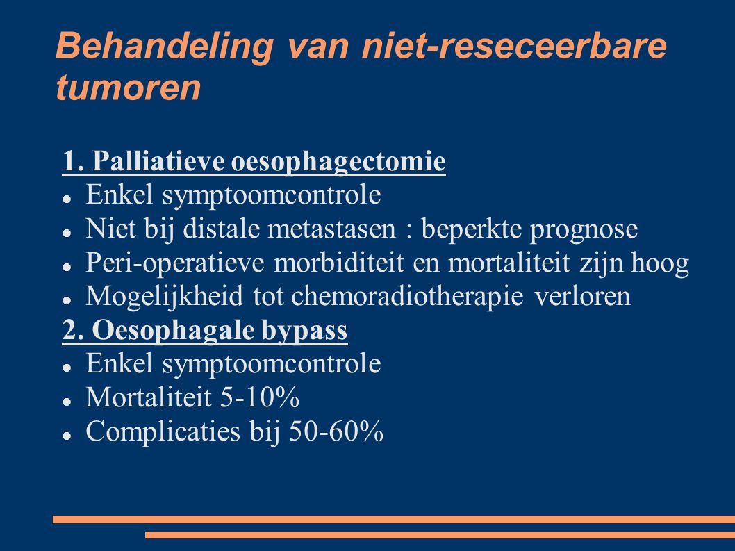 Behandeling van niet-reseceerbare tumoren 1. Palliatieve oesophagectomie Enkel symptoomcontrole Niet bij distale metastasen : beperkte prognose Peri-o
