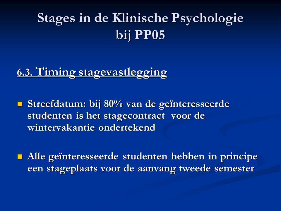 Stages in de Klinische Psychologie bij PP05 6.3. Timing stagevastlegging Streefdatum: bij 80% van de geïnteresseerde studenten is het stagecontract vo