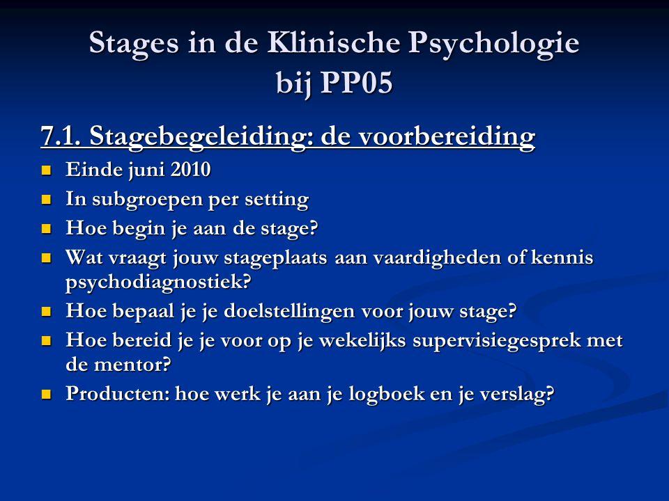 Stages in de Klinische Psychologie bij PP05 7.1. Stagebegeleiding: de voorbereiding Einde juni 2010 Einde juni 2010 In subgroepen per setting In subgr