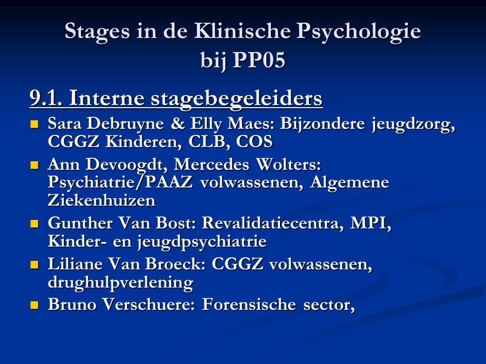 Stages in de Klinische Psychologie bij PP05 9.1. Interne stagebegeleiders Sara Debruyne & Elly Maes: Bijzondere jeugdzorg, CGGZ Kinderen, CLB, COS Sar