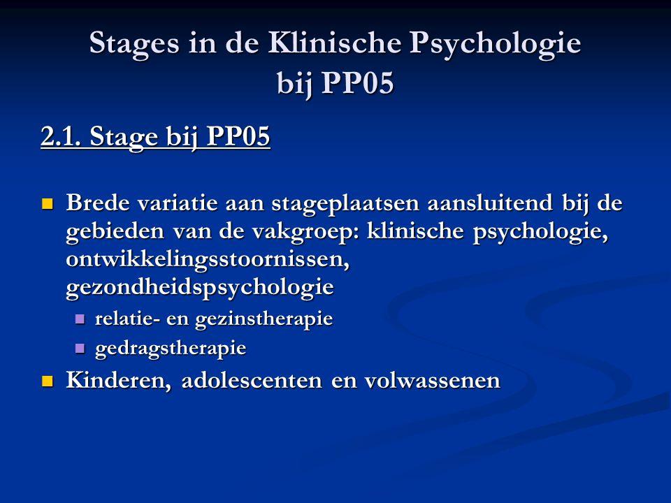 Stages in de Klinische Psychologie bij PP05 2.1. Stage bij PP05 Brede variatie aan stageplaatsen aansluitend bij de gebieden van de vakgroep: klinisch
