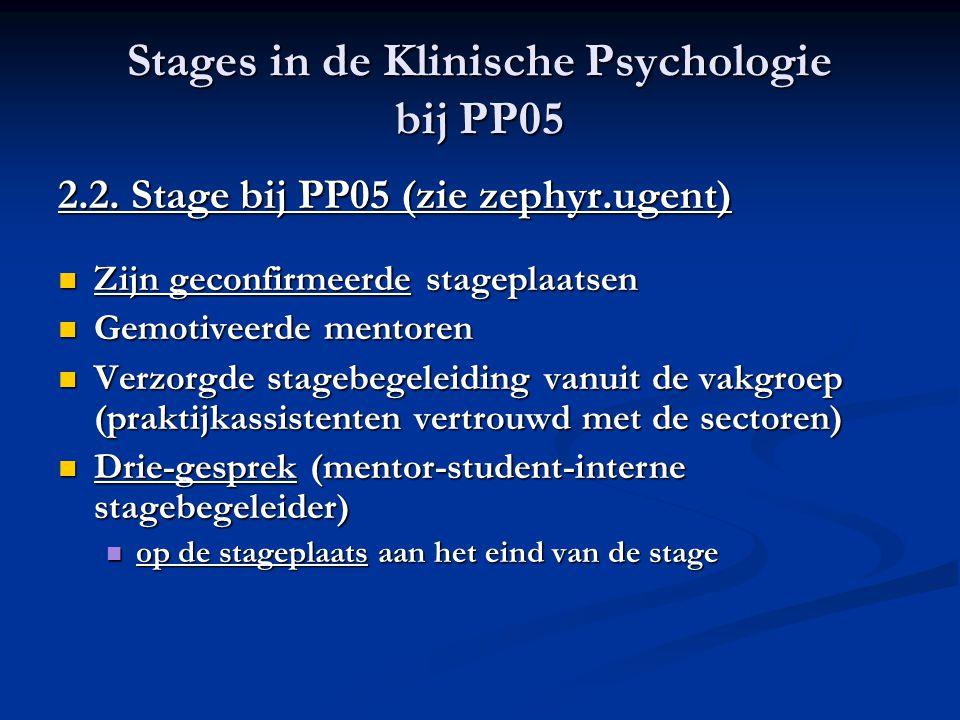 Stages in de Klinische Psychologie bij PP05 2.2. Stage bij PP05 (zie zephyr.ugent) Zijn geconfirmeerde stageplaatsen Zijn geconfirmeerde stageplaatsen