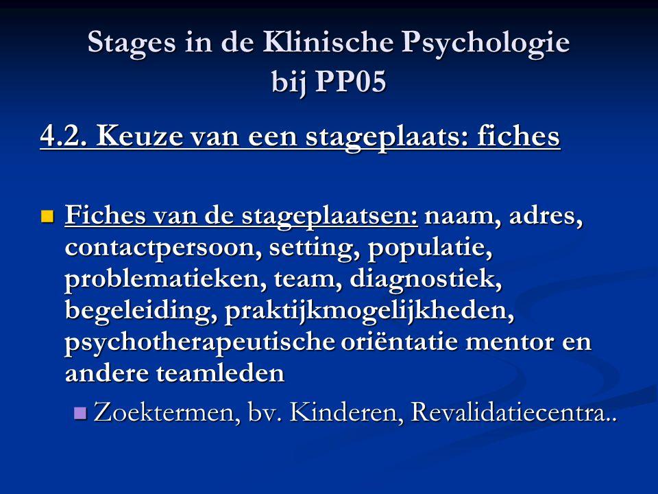 Stages in de Klinische Psychologie bij PP05 4.3.