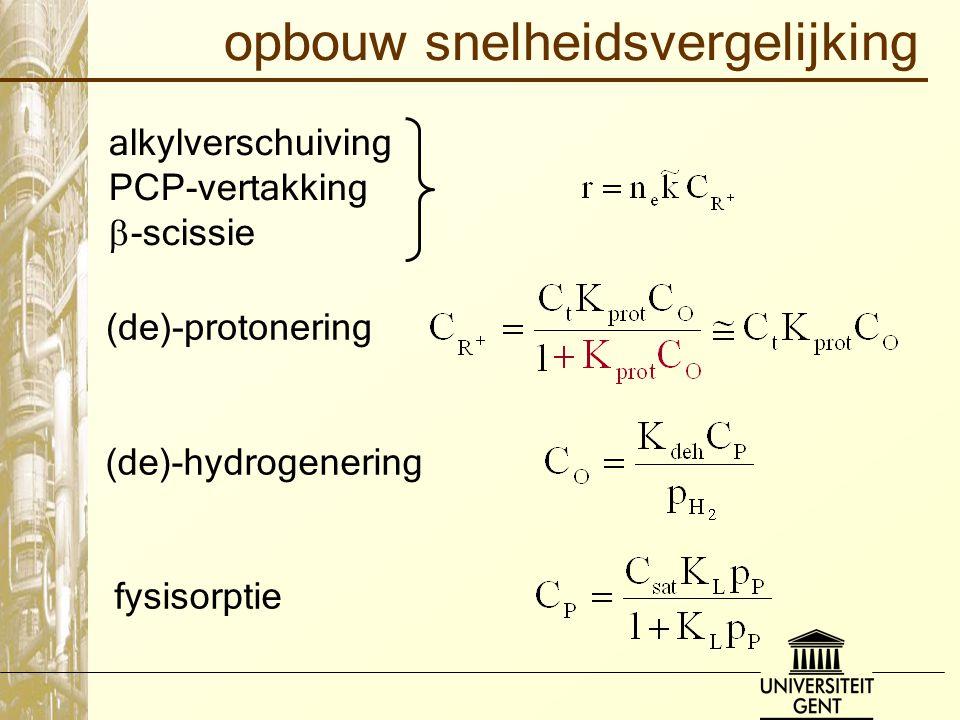 opbouw snelheidsvergelijking alkylverschuiving PCP-vertakking  -scissie (de)-protonering (de)-hydrogenering fysisorptie