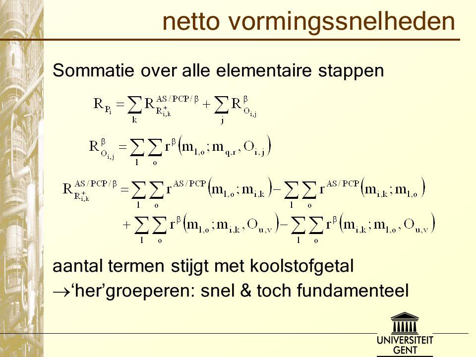 netto vormingssnelheden Sommatie over alle elementaire stappen aantal termen stijgt met koolstofgetal  'her'groeperen: snel & toch fundamenteel