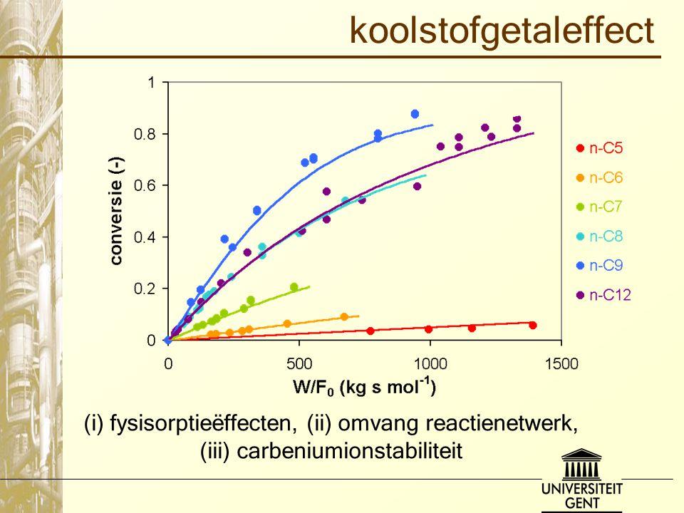 koolstofgetaleffect (i) fysisorptieëffecten, (ii) omvang reactienetwerk, (iii) carbeniumionstabiliteit