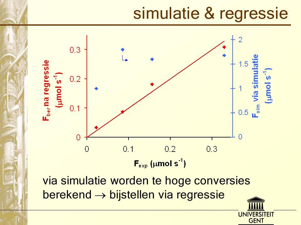 simulatie & regressie via simulatie worden te hoge conversies berekend  bijstellen via regressie