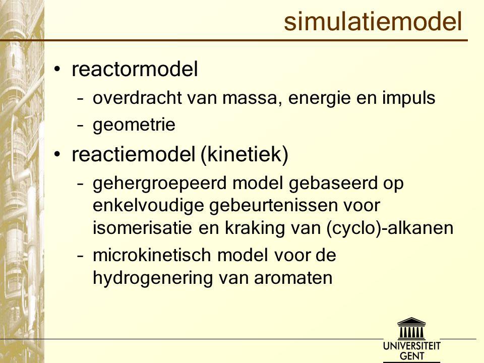 simulatiemodel reactormodel –overdracht van massa, energie en impuls –geometrie reactiemodel (kinetiek) –gehergroepeerd model gebaseerd op enkelvoudig