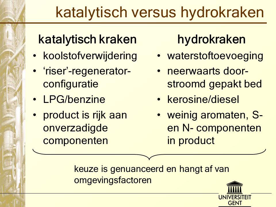 katalytisch versus hydrokraken katalytisch kraken koolstofverwijdering 'riser'-regenerator- configuratie LPG/benzine product is rijk aan onverzadigde