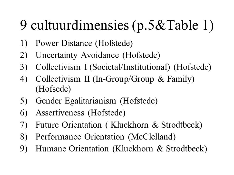 9 cultuurdimensies (p.5&Table 1) 1)Power Distance (Hofstede) 2)Uncertainty Avoidance (Hofstede) 3)Collectivism I (Societal/Institutional) (Hofstede) 4