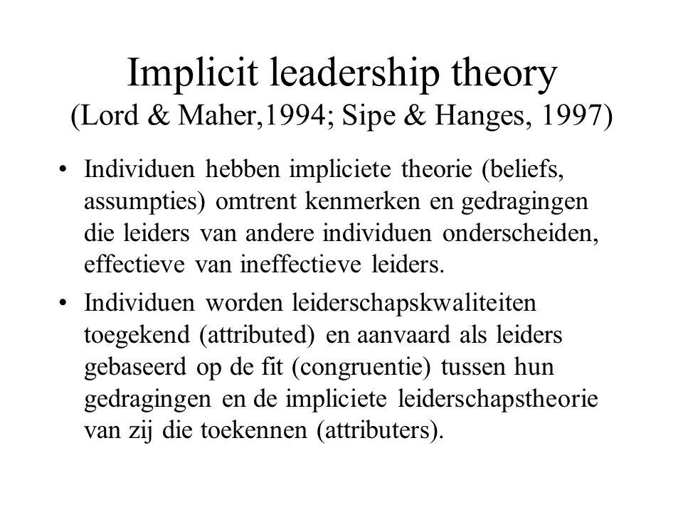 Implicit leadership theory (Lord & Maher,1994; Sipe & Hanges, 1997) Individuen hebben impliciete theorie (beliefs, assumpties) omtrent kenmerken en gedragingen die leiders van andere individuen onderscheiden, effectieve van ineffectieve leiders.