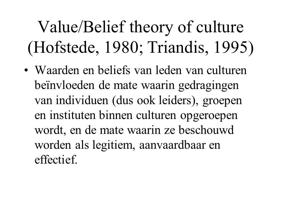 Value/Belief theory of culture (Hofstede, 1980; Triandis, 1995) Waarden en beliefs van leden van culturen beïnvloeden de mate waarin gedragingen van individuen (dus ook leiders), groepen en instituten binnen culturen opgeroepen wordt, en de mate waarin ze beschouwd worden als legitiem, aanvaardbaar en effectief.