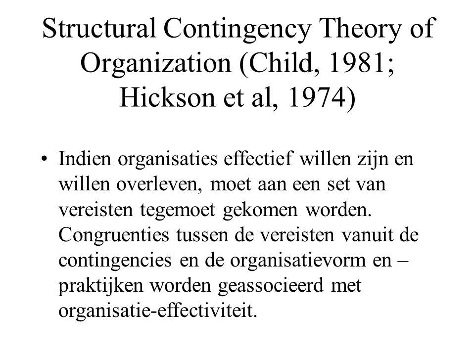 Structural Contingency Theory of Organization (Child, 1981; Hickson et al, 1974) Indien organisaties effectief willen zijn en willen overleven, moet a
