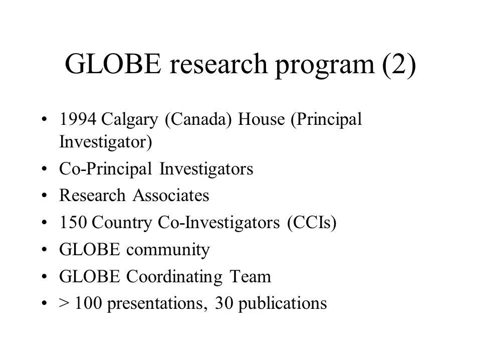 GLOBE research program (2) 1994 Calgary (Canada) House (Principal Investigator) Co-Principal Investigators Research Associates 150 Country Co-Investigators (CCIs) GLOBE community GLOBE Coordinating Team > 100 presentations, 30 publications
