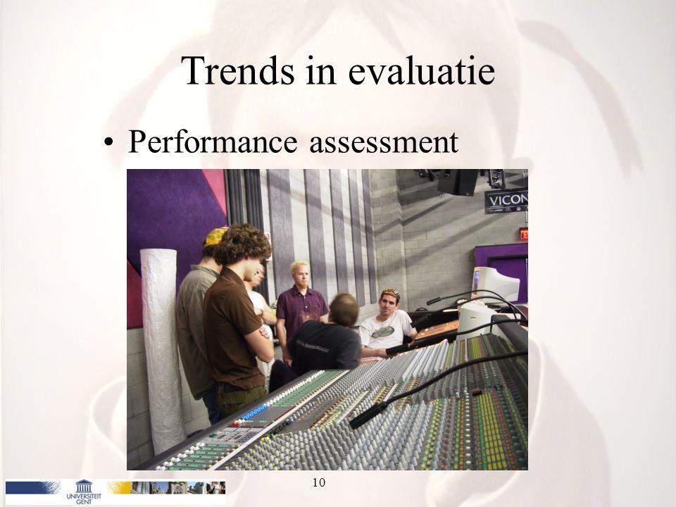 Trends in evaluatie Performance assessment 10