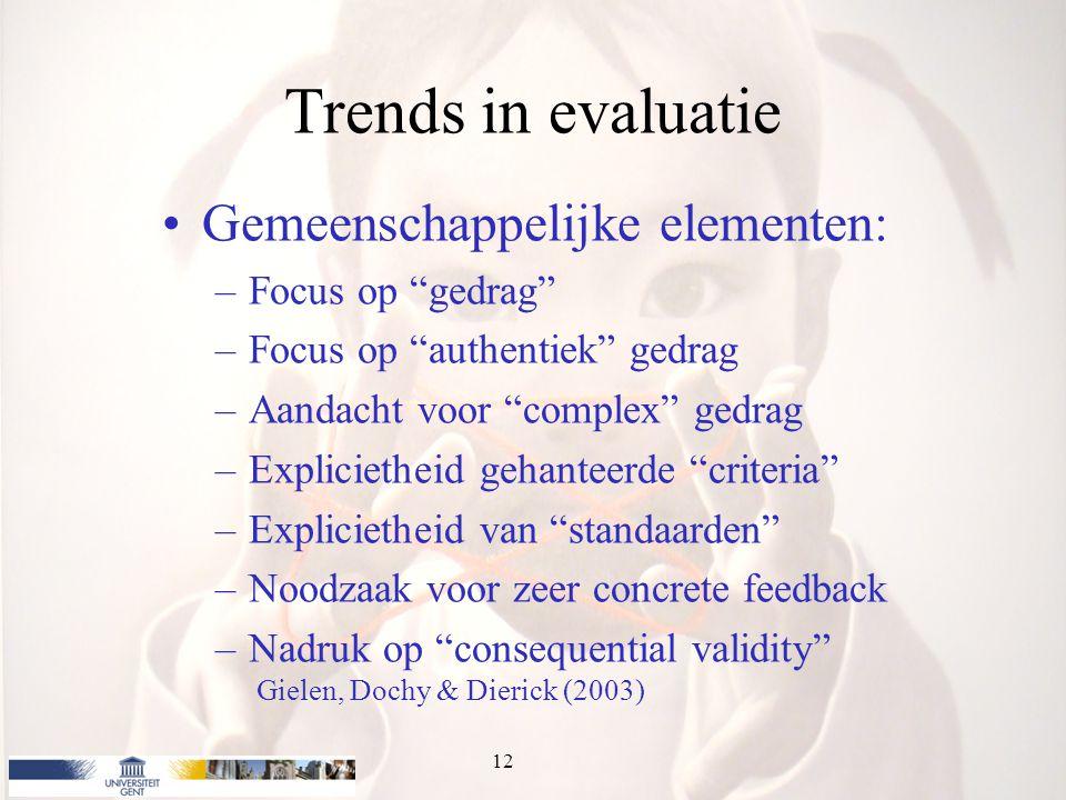 """Trends in evaluatie Gemeenschappelijke elementen: –Focus op """"gedrag"""" –Focus op """"authentiek"""" gedrag –Aandacht voor """"complex"""" gedrag –Explicietheid geha"""