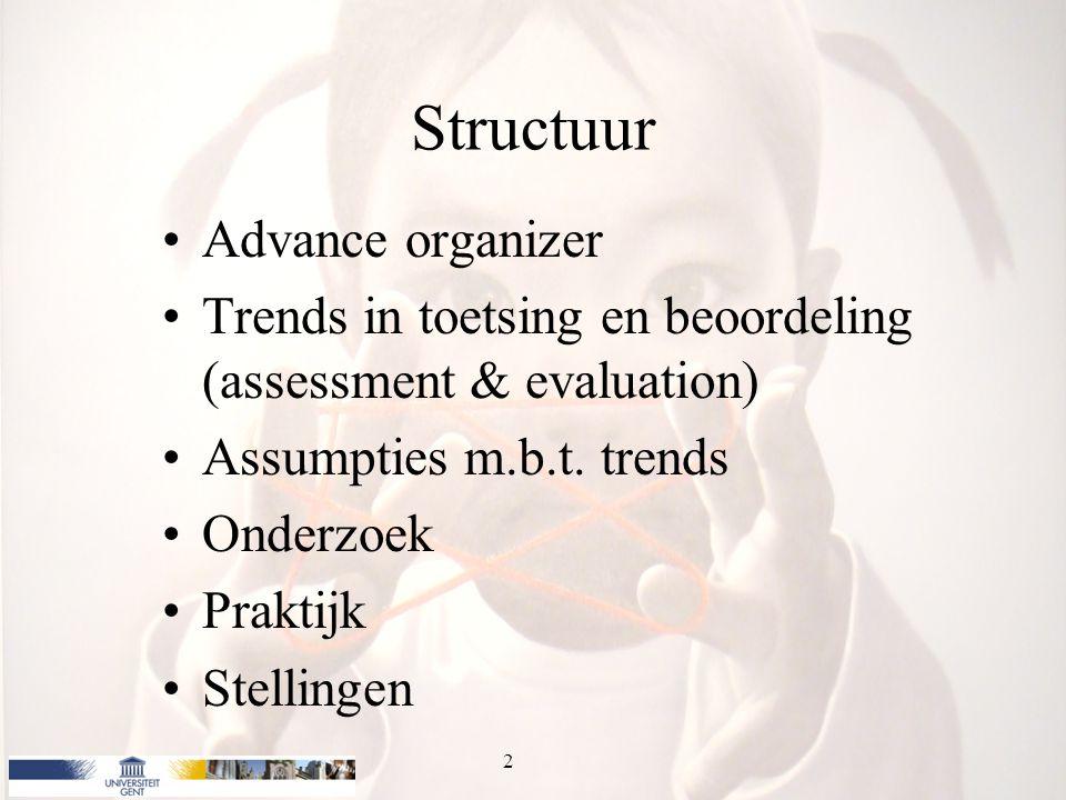 Structuur Advance organizer Trends in toetsing en beoordeling (assessment & evaluation) Assumpties m.b.t. trends Onderzoek Praktijk Stellingen 2