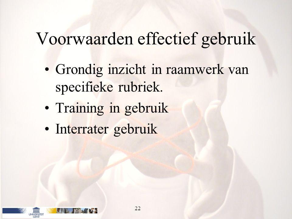 Voorwaarden effectief gebruik Grondig inzicht in raamwerk van specifieke rubriek. Training in gebruik Interrater gebruik 22